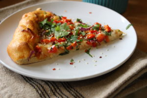 Slice of Asian Inspired Pizza with Miso Sriracha Sauce