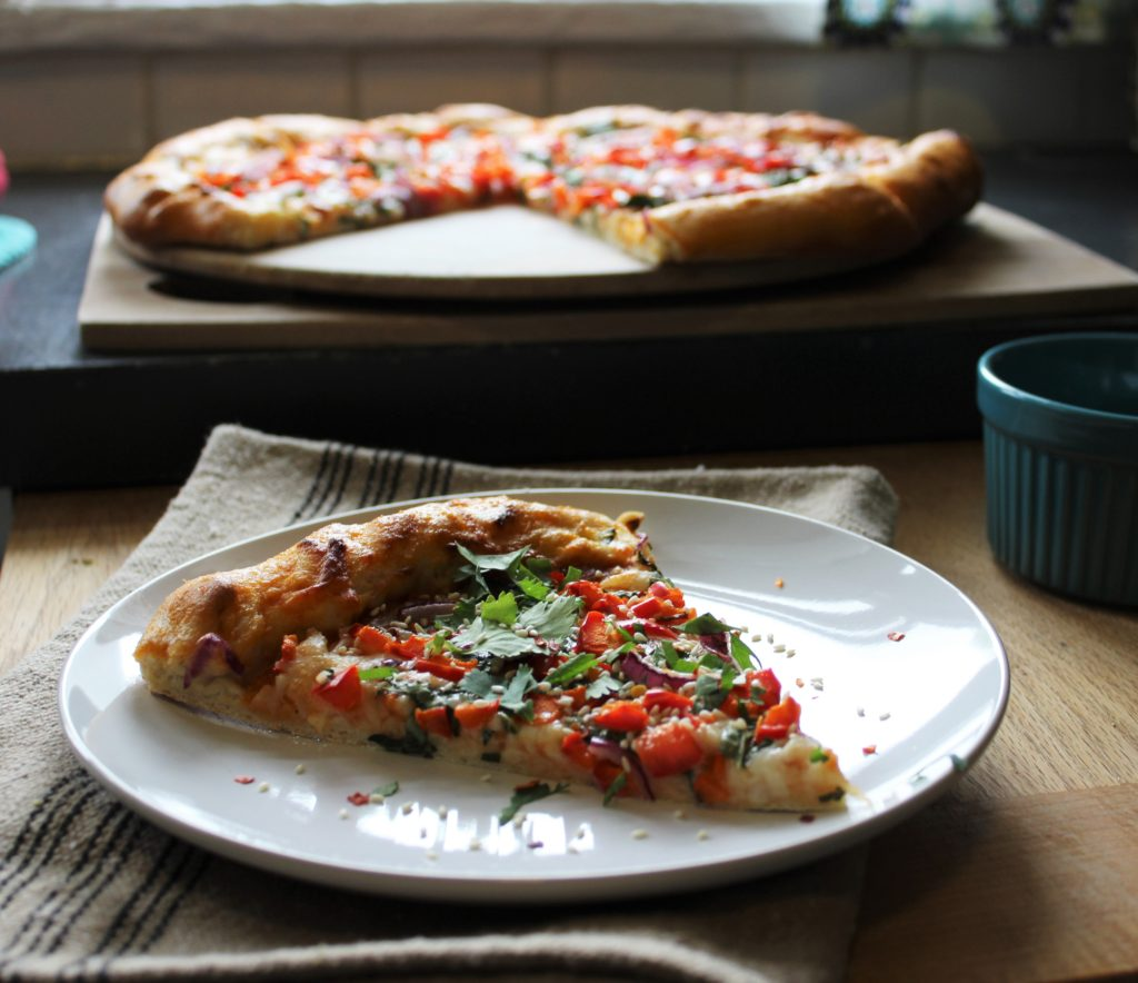 Asian Inspired Pizza with Miso Sriracha Sauce