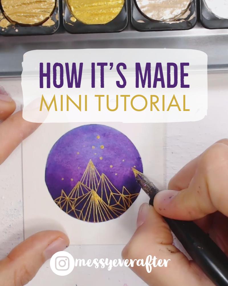 Mini Art Tutorial: Ink with Golden Lines